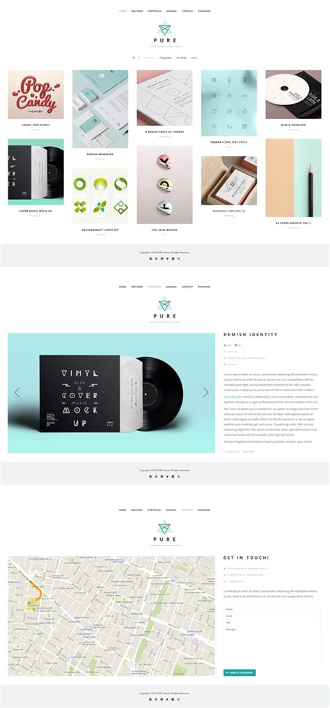 pure free portfolio wordpress theme 50 good logo