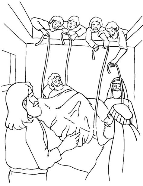 coloring pages early man jesus heals a paralyzed man midweek pinterest
