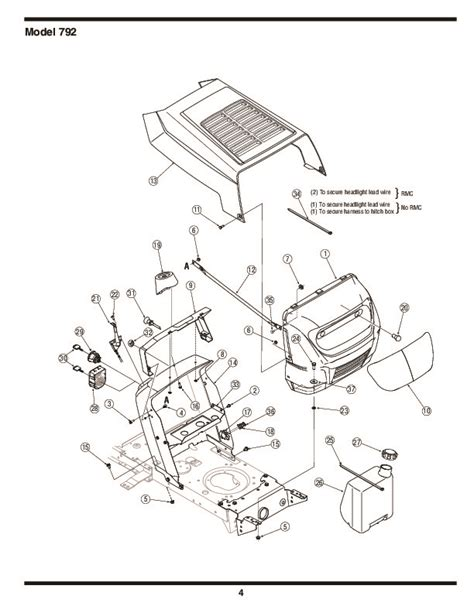mtd mower parts mtd 760 779 hydrostatic lawn tractor mower parts list