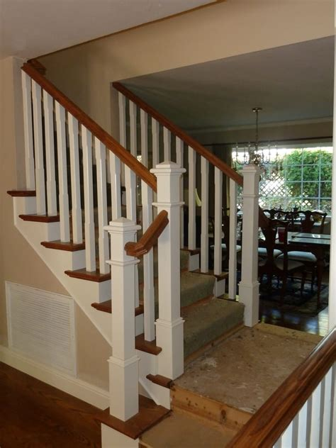 How To Refinish A Wood Banister Beautiful Craftsman Style Banister With Square Chamfered