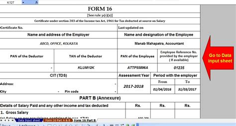 automated income tax form 16 part a and b and