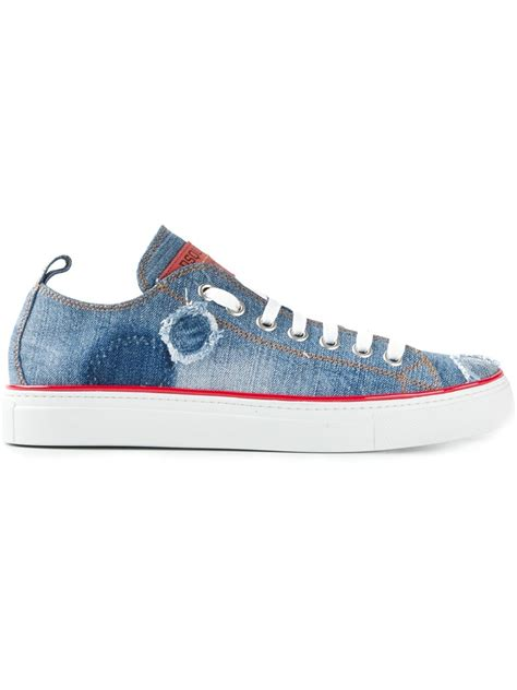 Sneakers Denim dsquared 178 distressed denim sneakers in blue for lyst