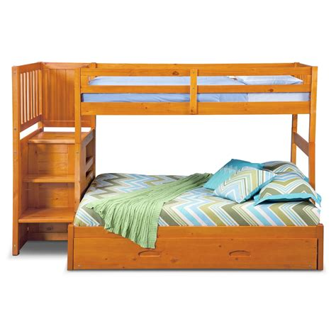 Bunk Bed With Stairs And Trundle Ranger Bunk Bed With Storage Stairs Trundle Pine Value City Furniture