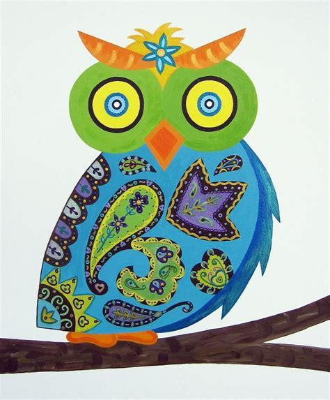 Custom Blue Paisley Owl Art Baby Nursery / Child Wall Art