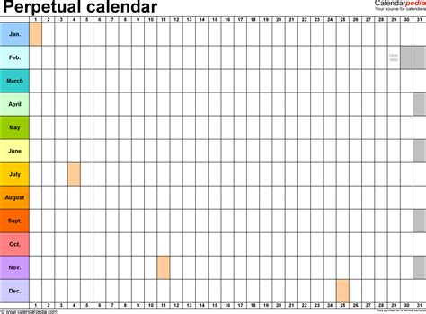 2015 one page calendar template