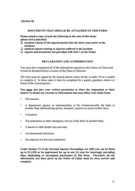 section 27 form the personal injury self help kit part 2 notice