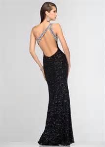scala 47541 sequin evening gown open back black sequin