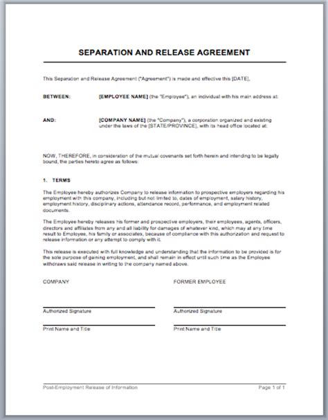 separation agreement templates separation and release agreement template format template