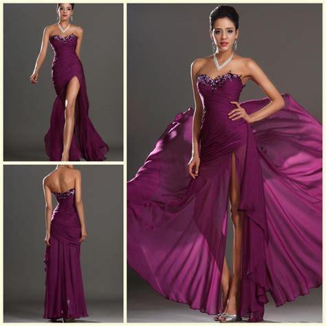 Bj Side Line Dress Purple 2014 ruched purple evening dress eaded a line