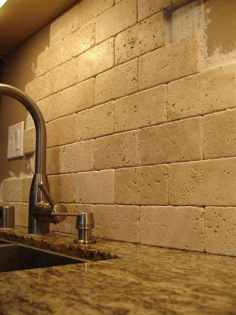 stone subway tile backsplash granite backsplash ideas santa cecilia granite kitchen