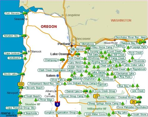 map of oregon cgrounds oregon state parks map oregon map