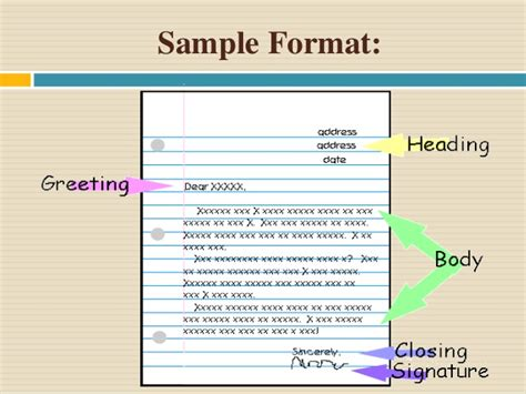 key features of the layout of a letter letter writing