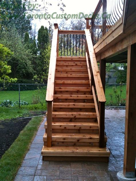 Wood Outdoor Stairs Design A Simple Rustic Cedar Wood Stairs Deck Design Custom Deck Patio Toronto Landscaping Your