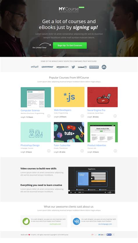 themeforest video landing page mycourse instapage ecourse landing pages pack by pixfort