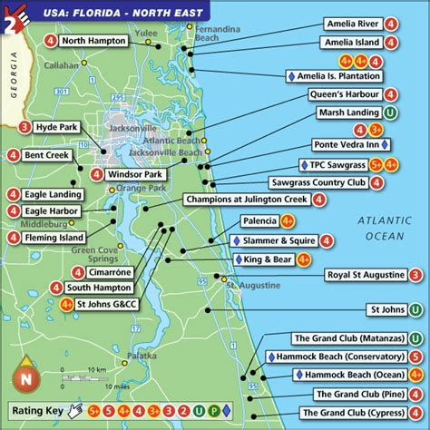 florida resort map florida east golf map with top golf courses and best