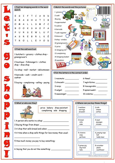 Shop For With The Find by Shopping Vocabulary Exercises Worksheet Free Esl