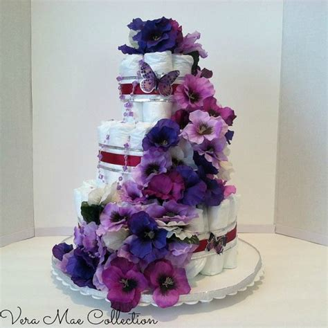 Purple Butterfly Baby Shower Cake by Beautiful Purple Cake With Purple Butterflies