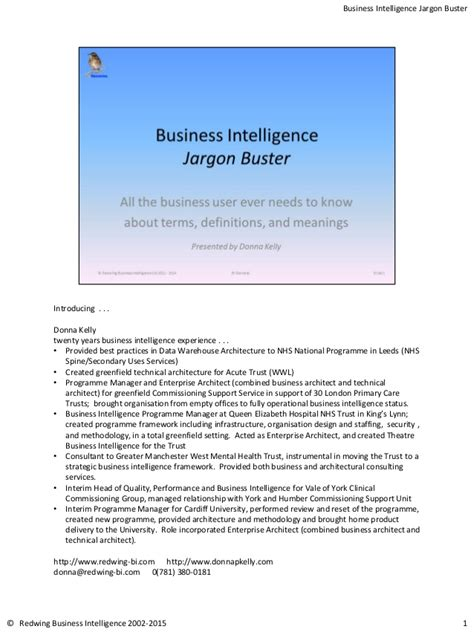 Business Intelligence Notes For Mba by Notes For Business Intelligence Jargon Buster