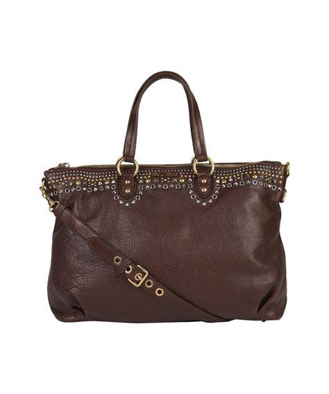Miu Miu Spider Leather Bag by Miu Miu Studded Leather Bag In Brown Lyst