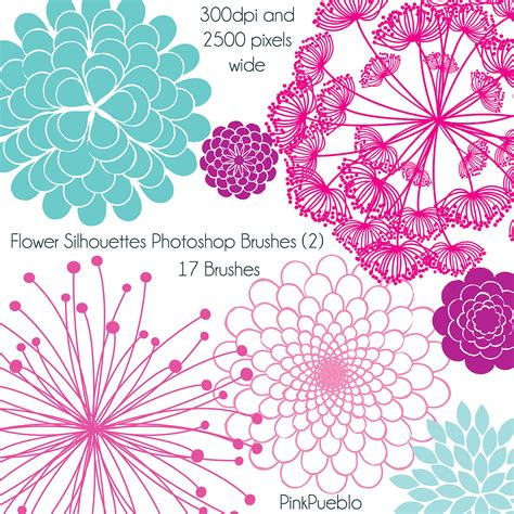 flower brush flower silhouettes photoshop brushes 2 flower by pinkpueblo