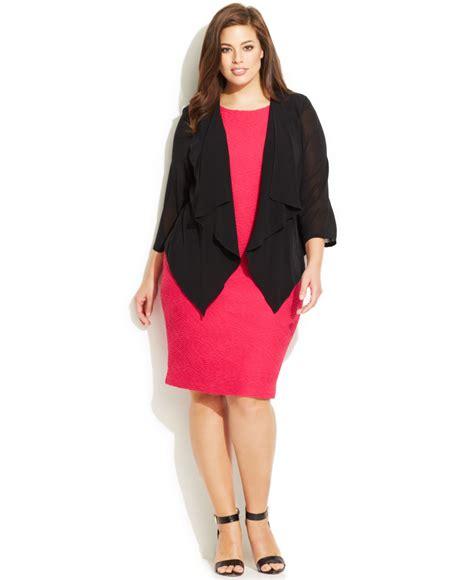 Calvin Klein Plus Size Illusion Sleeve Draped Cardigan In