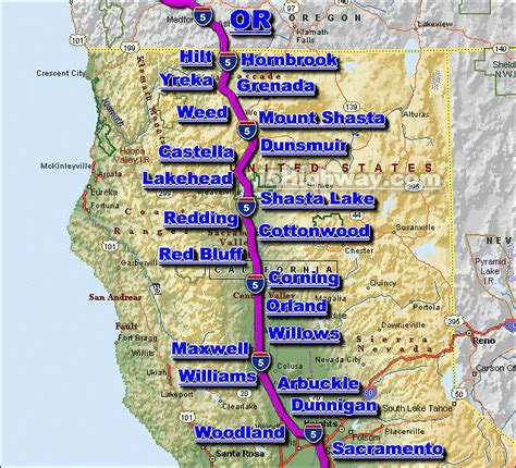 map of interstate 5 through oregon i 5 california traffic map