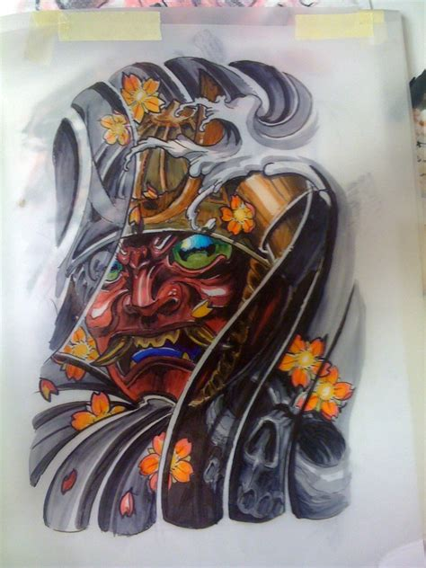 japanese mask tattoo design of zhilian