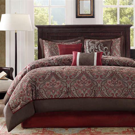 Brown Blue Comforter Beautiful Modern Elegant Burgundy Deep Red Brown White