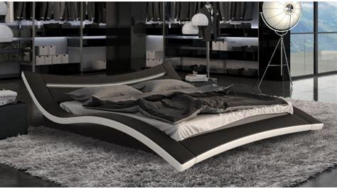lit moderne noir et blanc en simili avec leds 160x200 cm