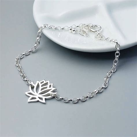 lotus sterling silver bracelet by wished for