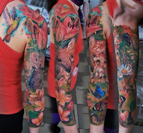 nature sleeve tattoo collection of 25 colorful nature sleeve tattoos