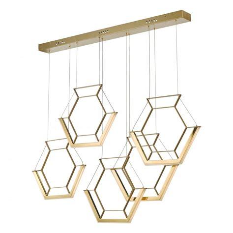 gold led hexagon 5 light ceiling pendant bar light