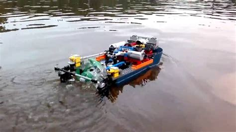 lego boat propeller lego pf boat with surface piercing propeller youtube