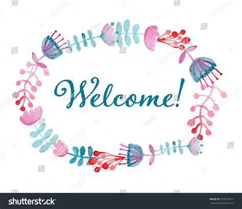 welcome card floral wreath watercolor hand drawn spring