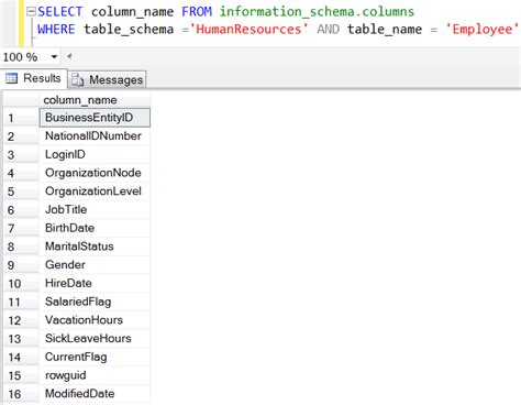 sql server list tables get table column names list in sql server by code