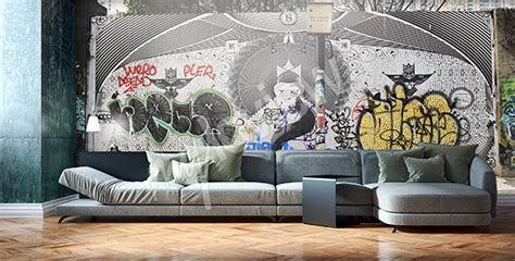 graffiti wallpaper living room murals graffiti to size of wall myloview com