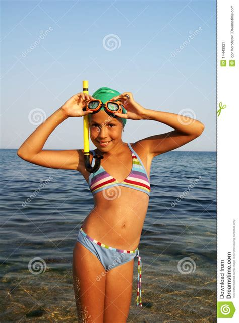 preteen beach preteen girl on sea beach stock image image 14449921