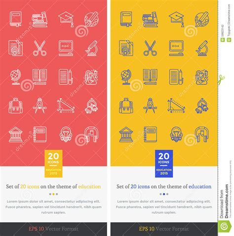 education theme drawing set icons theme of education and learning stock vector