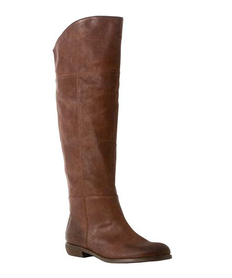 redhot knee high flat boots in brown designer footwear