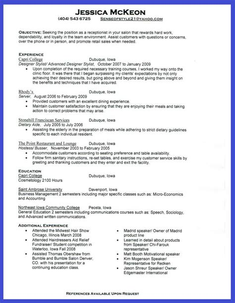 cv resume format sle receptionist resume sle 2016 what to write and what to