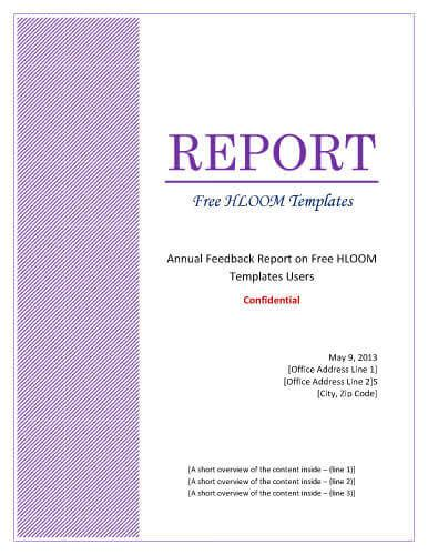 Report Title Page Template Word
