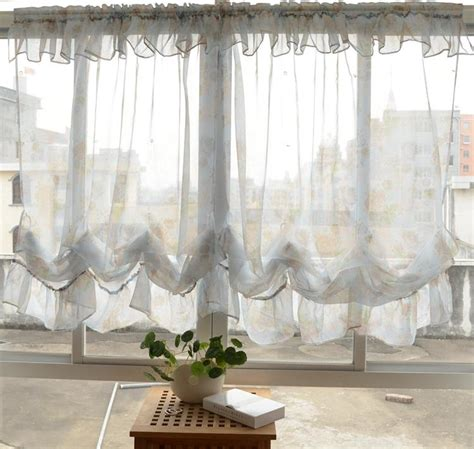 Pull Up Curtains Country Pastrol Floral Sheer Pull Up Balloon Austrian Cafe Kitchen Curtain Ebay