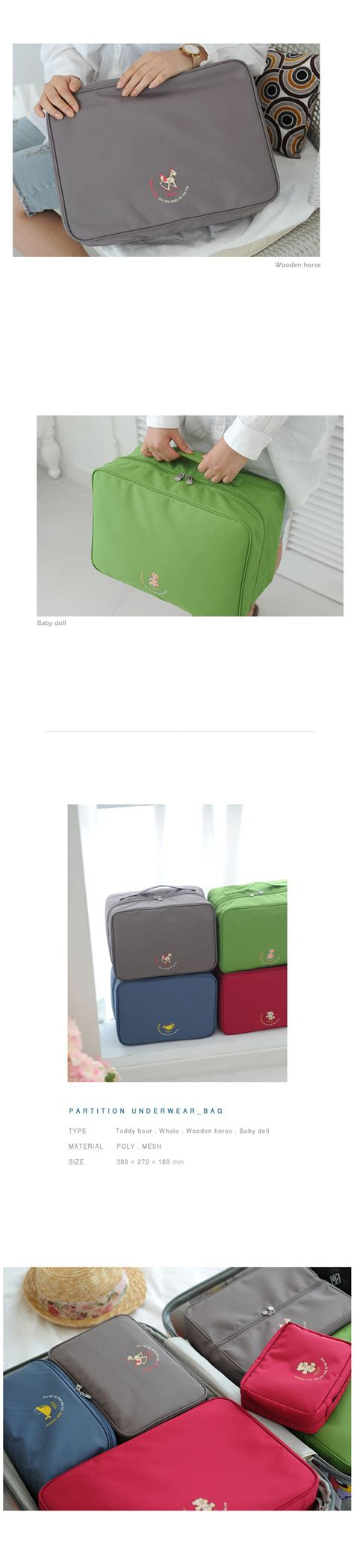 funnymade korea premium waterproof partition trunk bags travel luggage organizer sets baby