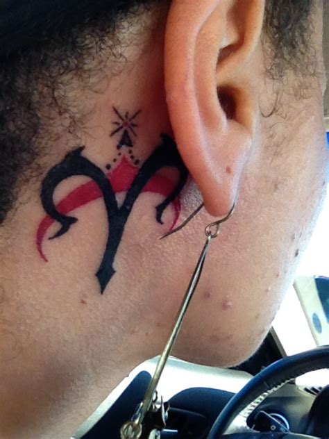 aries tattoo behind ear back ear black aries tattoo design tattooshunt com