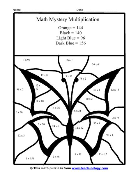 multiplication coloring worksheets multi color butterfly multiplication puzzle