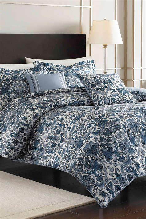 blue king comforter set nicole miller porcelain blue king comforter sham set