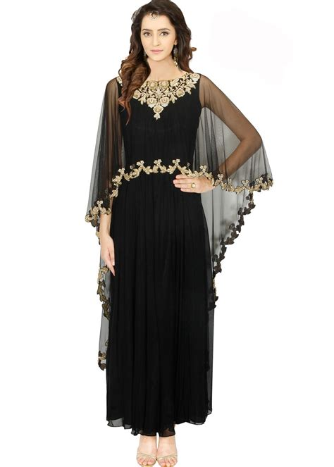 cape styles black georgette cape style gown diwali collection 129gw03