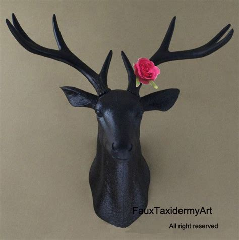 home decor red deer large black faux deer head red flower wall decor wall