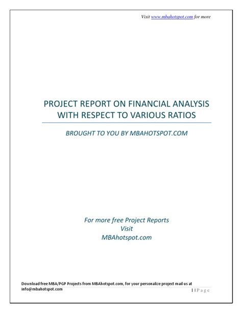 Mba Project Report On Financial Statement Analysis Pdf by Mba Project Report On Financial Analysis Ratio