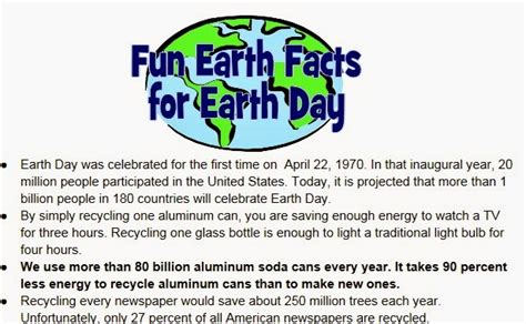 Earth Day Facts by Quot Putting The Back In Education One Lesson At A Time